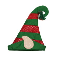 Green and Red Felt Hologram Sequin Print Elf Hat